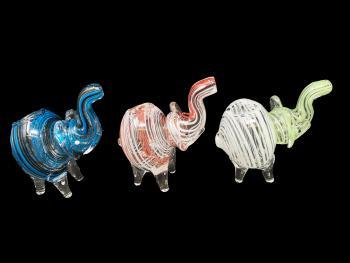 "4""/105 Gr. STRIPE ART  ELEPHANT HAND PIPE"