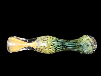 "3.5"" DOUBLE GLASS FANCY ART CHILLUM"