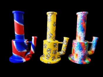 """10"""" PRINTED MIX COLOR SILICONE WATER PIPE"""