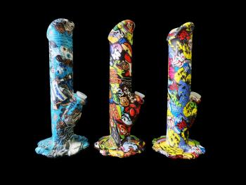 """10""""/320 Gr. FANCY PRINT SILICONE WATER PIPE"""